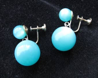 vintage screwback drop earrings, turquoise moonglow lucite 1950's