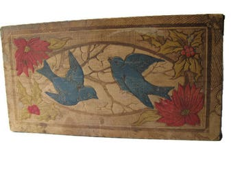 small vintage wooden trinket box with hinged lid, pyrography bluebirds