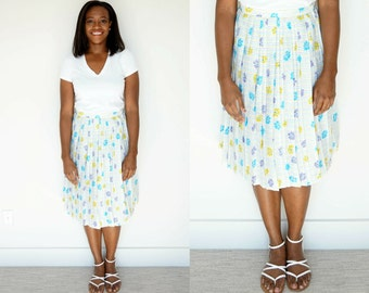 Vintage Floral Skirt / 1970s Pleated Skirt / A-Line Skirt / Striped Skirt / Vintage Pleated Skirt / 1970s Floral Skirt / Medium Skirt