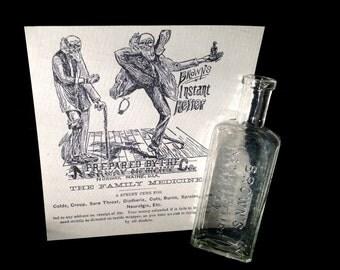 Quack Medicine Bottle - Antique Brown's Instant Relief - Norway, Maine