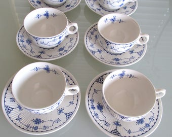 Vintage tea cups and saucers, Furnivale Blue Denmark English ironstone