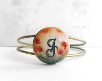Unique Hand Painted Bracelet, Handmade Initial Bracelet, Small Poppy Painting Letter Bracelet, Personalized Gift Jewelry