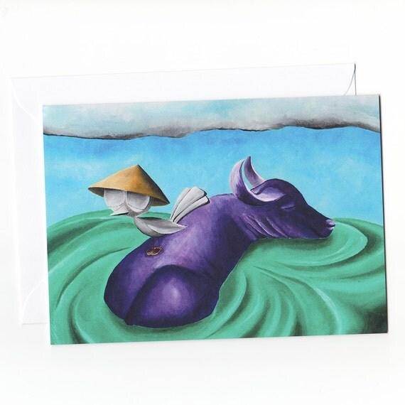 Greeting Card - Bird with Water Buffalo, Dream Bird Art, Vietnamese Greeting Cards, Asian Greeting Cards, Nature Greeting Cards