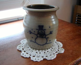 Vintage pottery tan with snowman handmade dated olive green glaze interior gift idea