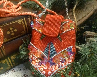 Bright, Bold and Beautiful Glass Beaded Cigarette Pouch Purse  (T)