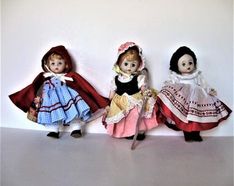 "Lot of 3 vintage Madame Alexander dolls, bent knee, ALEX, Little Bo Peep, Little Red Riding Hood, Russian, 8"" tall, Nursery decor, gift idea"