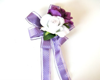 Floral gift bow, Gift wrapping bow, Birthday gift bow, Bow for women, Bow for gift baskets, Home decor, Spring or Summer wreath bow (HB98)