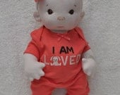 """CUSTOM listing #2 for Victoria. Fretta's Peanut Baby Doll, 16"""". Natural Soft Sculpted Jointed Baby, Child Safe Cloth Doll"""