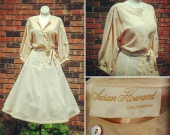 VLV Plus Size Vintage Susan Howard Linen Shirt Dress Rockabilly Pinup