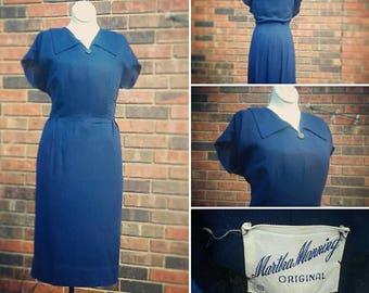 Volup 1950s Martha Manning Cornflower Blue Secretary Wiggle Dress Plus Size Pinup Rockabilly Swing