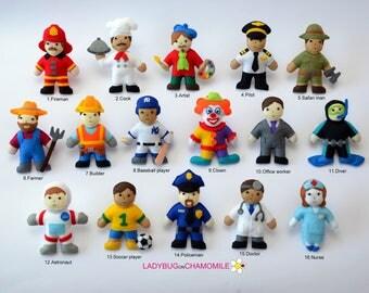 PEOPLE PROFESSIONS felt Magnets - Price per 1 item, Felt Dolls  or magnets,Cute toys, Handmade dolls, Ornaments, Nursery decor, Characters