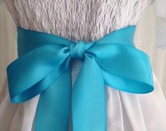 NEW-LOW PRICE-Flower Girl-Sash-Girl Sash-Turquoise-Wedding Sash-Wedding Belt-Bridal Belt-Bridal Sash-cummerbunds-Satin sash-Satin belt-belt