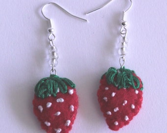 CUTE handmade Red strawberry earrings, felt, hand stitching, dangle and drop earrings