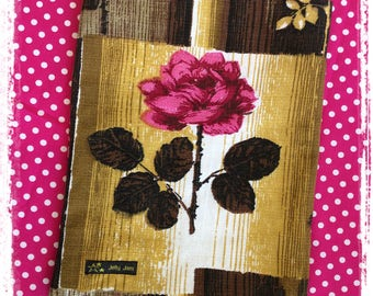 Vintage barkcloth fabric mini messenger bag - mustard pink rose
