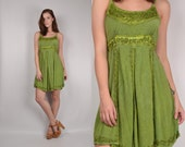 Embroidered India Dress soft grunge vintage boho hippie gypsy