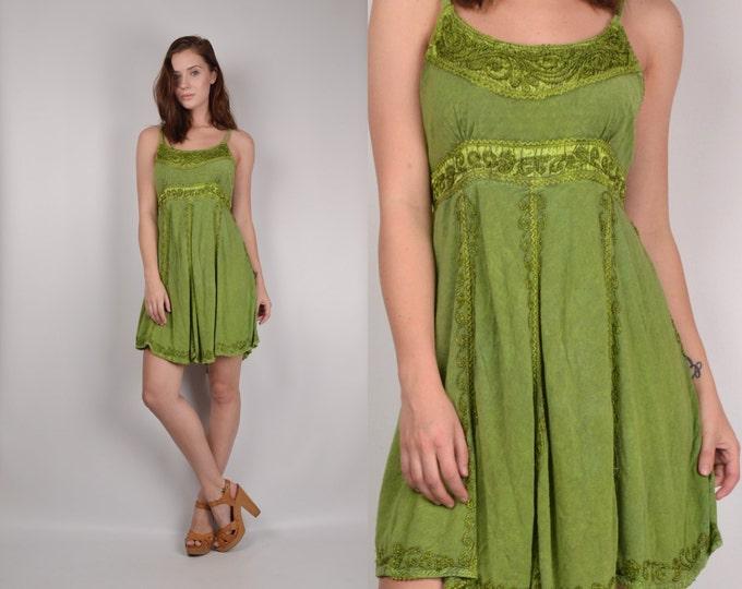 Embroidered India Dress soft grunge vintage boho hippie gypsy