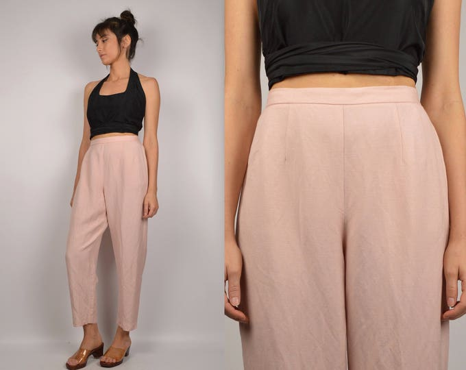 90's High Waist Blush Linen Trousers