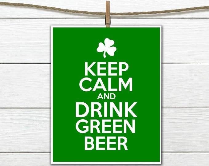 St. Patricks Day Decor Subway Art Instant Download Drink Green Beer