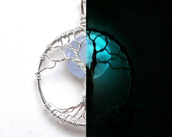 GLOW in the DARK Moon Tree of Life Necklace with Glowing, Glass Moon, SOLID Silver, Purple Green, Topaz