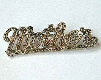 Vintage MOTHER Pin Sterling Silver and Marcasite 1960s