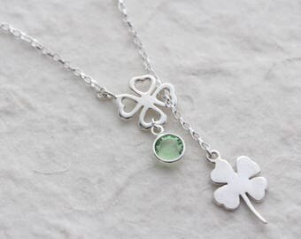 Silver Shamrock Necklace, Four leaves pendant. Personalized Choose custom stone. Sterling Silver Lariat clover charm, MonyArt Or. design.