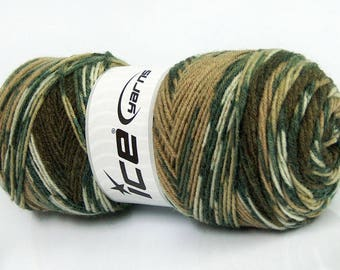 Winter wool yarn, Ethnic white green camel shades. Self striping multicolor ICE yarn  sock yarn