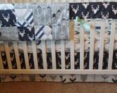 Bumperless Crib Set  Woodlands 1 (navy, gray, mint) with Twilight Buck Skirt