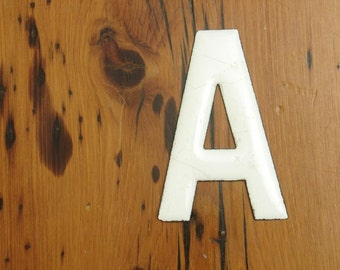 """antique enamel letter """"A"""" patent dated 1884, house sign advertising"""