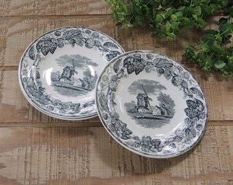 WT Copeland & Sons Black Transferware Bread and Butter Plates Set of 3 Elegant Tea Party Stoke Upon Trent Wedding Replacement China