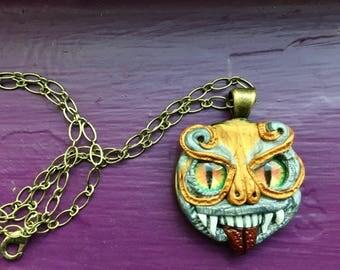 SteamPunk Jewelry, Steampunk Pendant, Polymer Clay Jewelry, Pendant, Small Pendant, Horror Jewelry, Gift for Her, Alternative Jewelry
