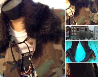 Vintage faux fur collar free domestic shipping