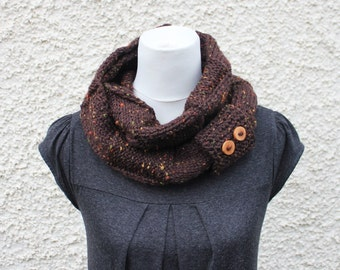 KNITTING PATTERN - Amelia tweed scarf, womens scarf pattern with button cuff - Listing156