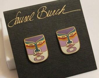 """Xmas SALE Vintage """"MACHADO"""" Mask Earrings By Laurel Burch"""