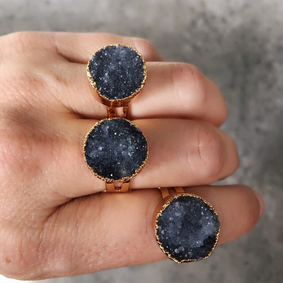 Druzy Rings, boho chic, Druzy jewelry