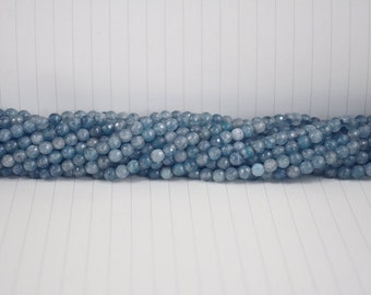 Aquamarine Faceted Beads --- 6mm --- Section Ball Beads --- 60 beads --- Full strand ---Hole 1mm