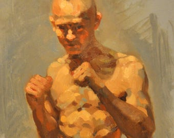 male boxer original oil painting 6x8 inch figure sketch