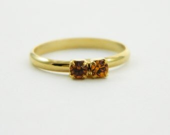 Orange Topaz Two Stone Midi Ring