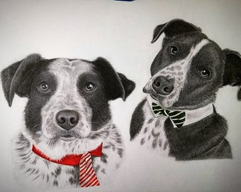 "11"" x 14"" ~Dog Pencil Portraits & Gift Cards ~ Hand-Drawn with Framing Options"