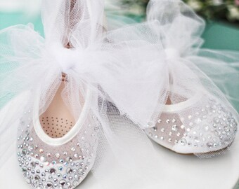 GIRLS SHOES- Mesh With Rhinestone ballet flats with TULLE ankle strap.  For weddings, princess, fairy, flower girls, frozen, costumes