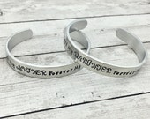 Matching Bracelets - Mother Daughter Bracelets - Forever My Friend - Personalized Bracelets - Hand Stamped Cuffs