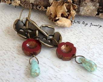 Roses are Red- brass flower buttons. dark red maroon Czech glass flowers. turquoise teardrops. romantic statement earrings. Jettabugjewelry