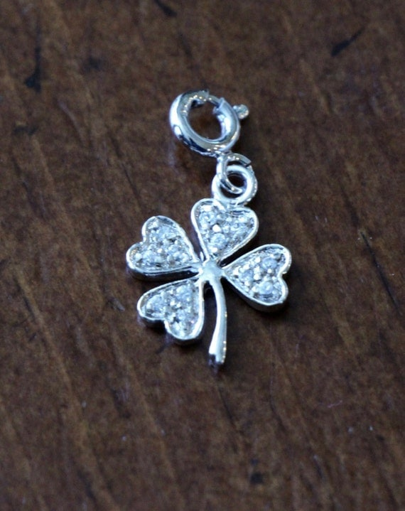 Clover Charm- Four Leaf Charm- Sterling Silver -Irish Jewelry- Good Luck Pendant Gift- Irish Blessing Jewelry