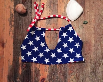 Stars and Stripes, Reversible Halter Bikini