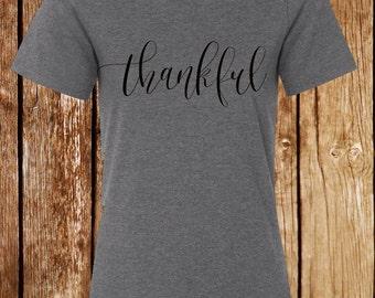 Thankful Shirt- Thanksgiving Tee- Women's Gray t-shirt