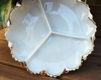Anchor Hocking milk glass relish hor'derve dish platter
