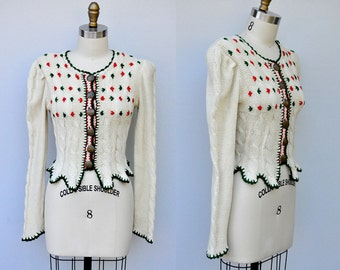 Vintage 40s Sweater - 40s Cardigan - Knit Sweater - Bavarian Cardigan - Dirndl - Embroidered Cardigan Sweater - RARE Collectible - S - M