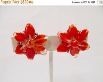 On Sale Vintage Red Orange Glass Cluster Earrings Item K # 2340