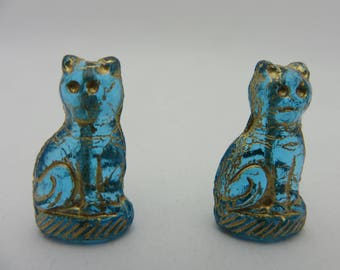 CZECH GLASS CATS in Capri Blue Transparent Glass Gold Detailing ( 2 Beads ) Always Low Shipping!