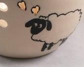 Large Yarn Bowl, Sheep Knitting Bowl, Yarn Holder, hand painted