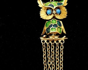 Store Closing Sale Hobe Owl Necklace in Gold Green and Blue